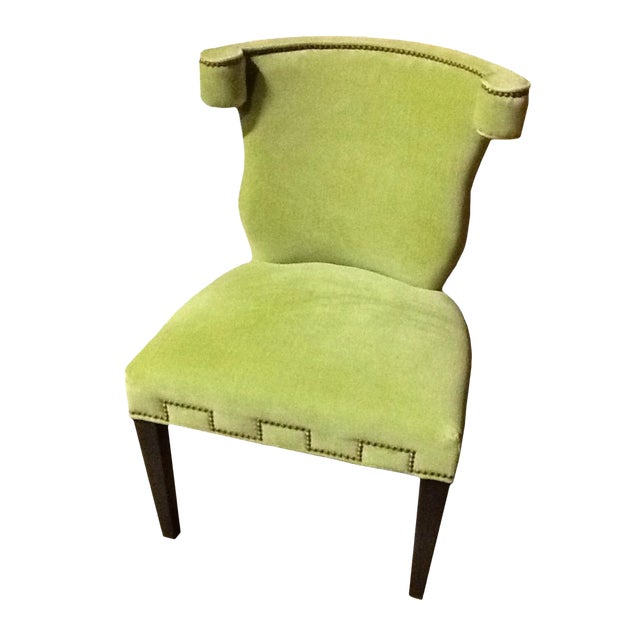 Modern Hollywood Regency Style Chartreuse Accent Chair For Sale