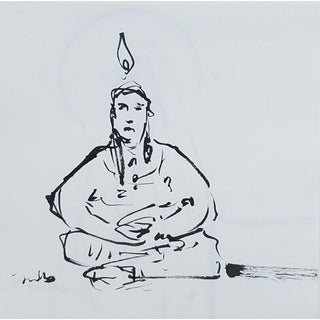 Contemporary Minimalist Figurative Portrait Ink Drawing by Jose Trujillo For Sale