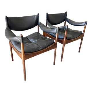 1970s Black Leather Arm Chairs - a Pair For Sale