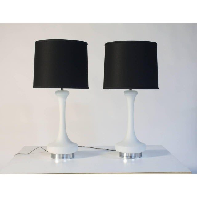 Mid-Century Modern Laurel White Satin Glass Lamps For Sale - Image 3 of 6
