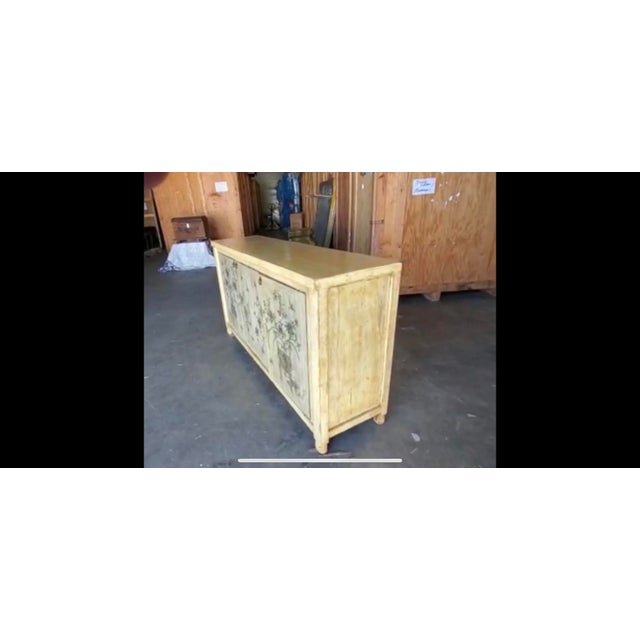 1970s Asian Style Credenza With Floral Motif Hand-Painted Door Panels For Sale - Image 10 of 11