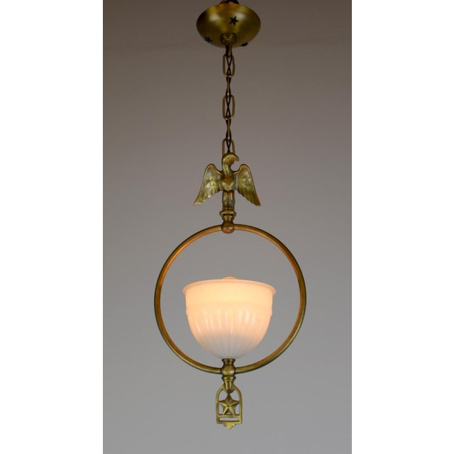 Gold Hall Pendant with Eagle Motif and Original Shade. For Sale - Image 8 of 8