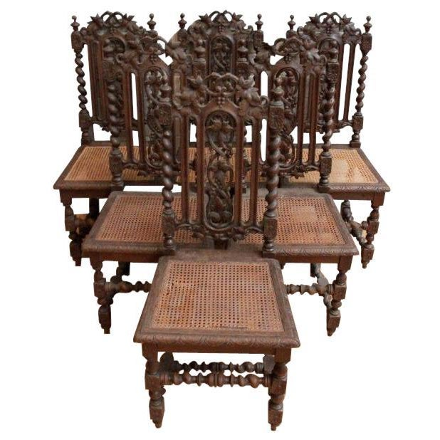 1880 Hunting Renaissance Dining Chairs - Set of 6 - Image 2 of 9