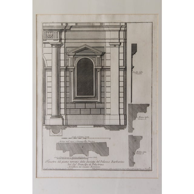 Traditional Early 19th Century Antique Architectural Finestra Del Piano Ferreno Print For Sale - Image 3 of 9