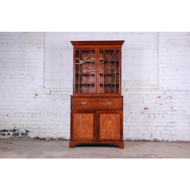 English George III Style Mahogany and Cherry Drop Front Secretary Desk With Bookcase, Circa 1870 For Sale - Image 13 of 13