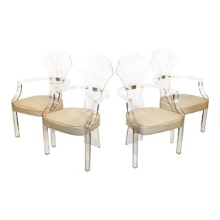 Lucite Shell-Form Back Arm Chairs - Set of 4 For Sale