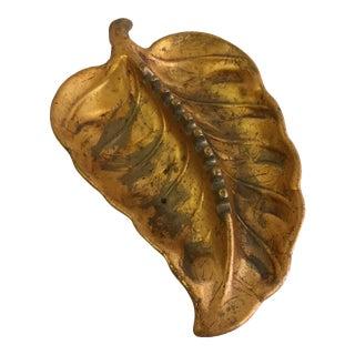 Vintage Gold Toned Leaf Shaped Ashtray For Sale