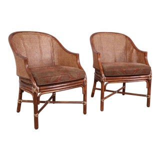 McGuire Rattan and Cane Club Chairs, Pair For Sale