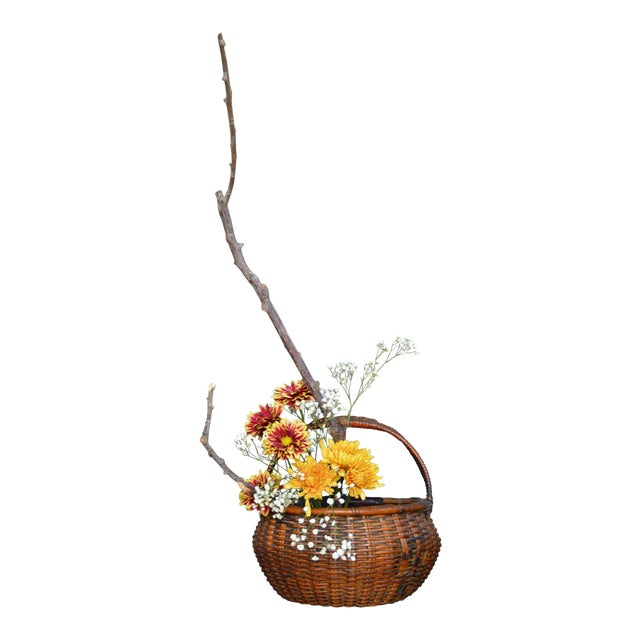 Japanese Bamboo Basket Ikebana Flower Antique Vase Flower Sumikago For Sale