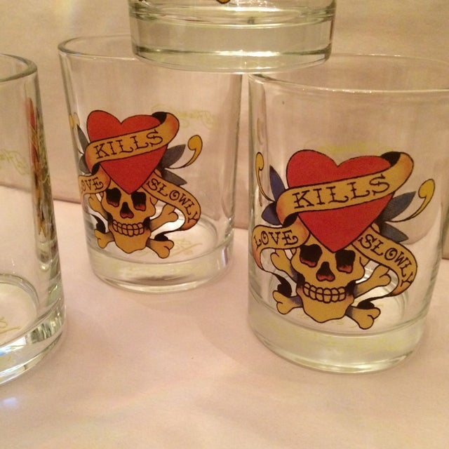 """Glass Ed Hardy """"Love Kills Slowly"""" Lo-Ball Glasses - Set of 4 For Sale - Image 7 of 11"""
