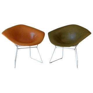 1950s Mid-Century MOdern Harry Bertoia for Knoll Leather Diamond Chairs - a Pair