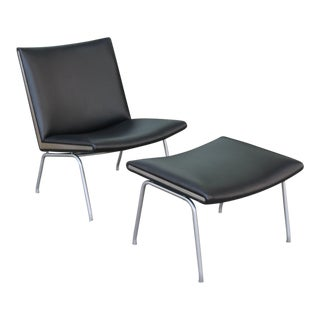 Hans Wegner Leather Airline Chair and Ottoman