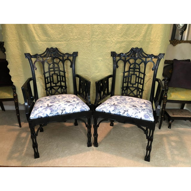 1980s Faux Bamboo Pagoda Armchairs- A Pair For Sale - Image 5 of 12