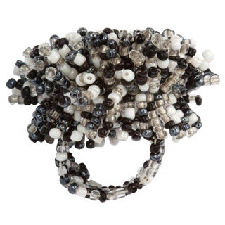 Venetian Glass Bead Ring, Black and White For Sale