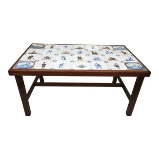 Hand Painted Tile Top Mahogany Cocktail Table