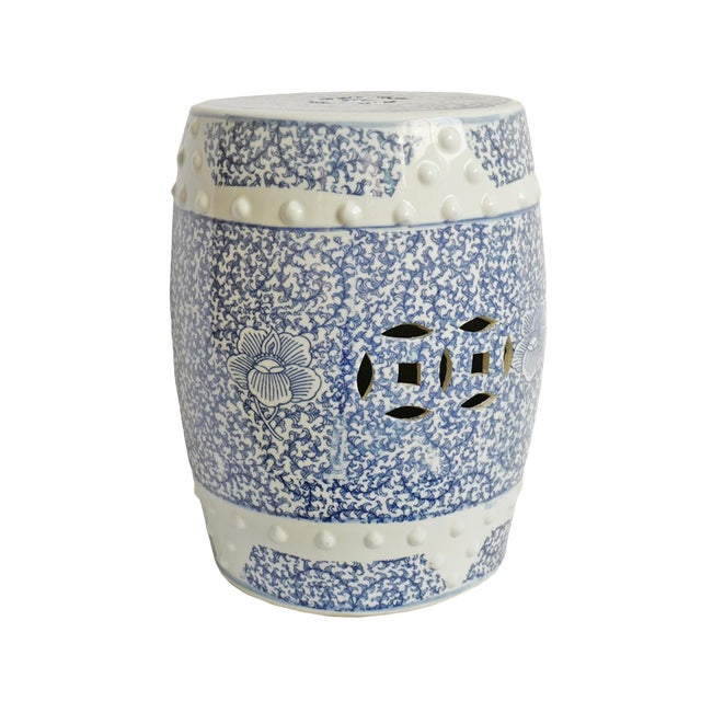 Blue & White Ceramic Garden Stool For Sale