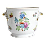 Image of Late 20th Century Herend Queen Victoria Cache Pot With Flowers and Butterflies For Sale