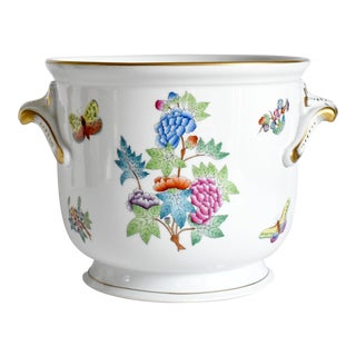 Late 20th Century Herend Queen Victoria Cache Pot With Flowers and Butterflies For Sale