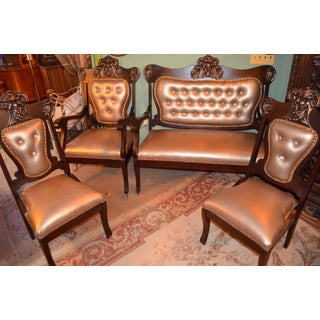 Antique Newly Upholstered Mahogany Parlor Sitting Set - 4 Piece Preview