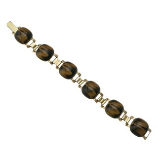 Vintage 9 Carat Gold Tiger's Eye Link Bracelet For Sale