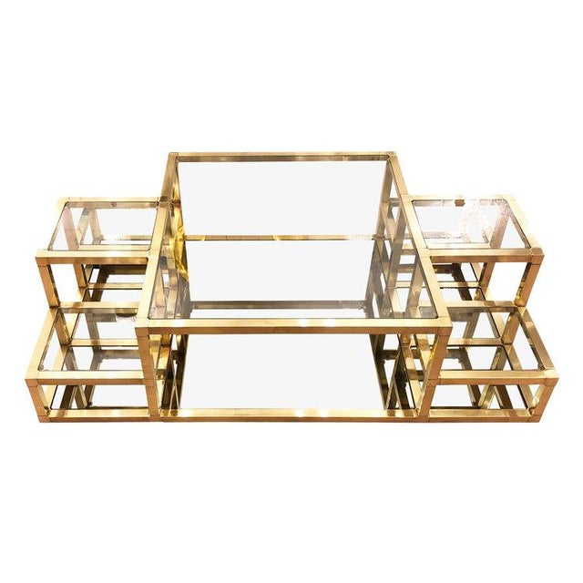 1960s Italian Multi-Level Brass Coffee Table For Sale - Image 4 of 10