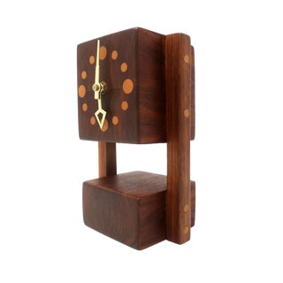 Vintage Handmade Teak Mantle Clock For Sale