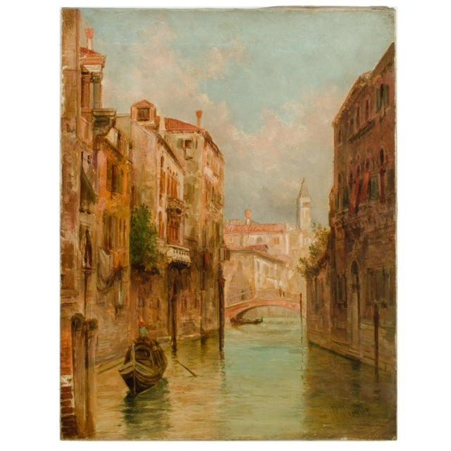 """19th Century """"Venice in June"""" Cityscape Oil Painting by Alfred Pollentine For Sale - Image 10 of 10"""