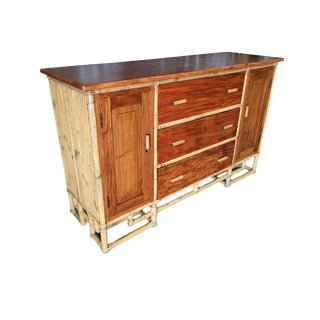 Restored Paul Frank Stacked Rattan Sideboard With Mahogany Top For Sale