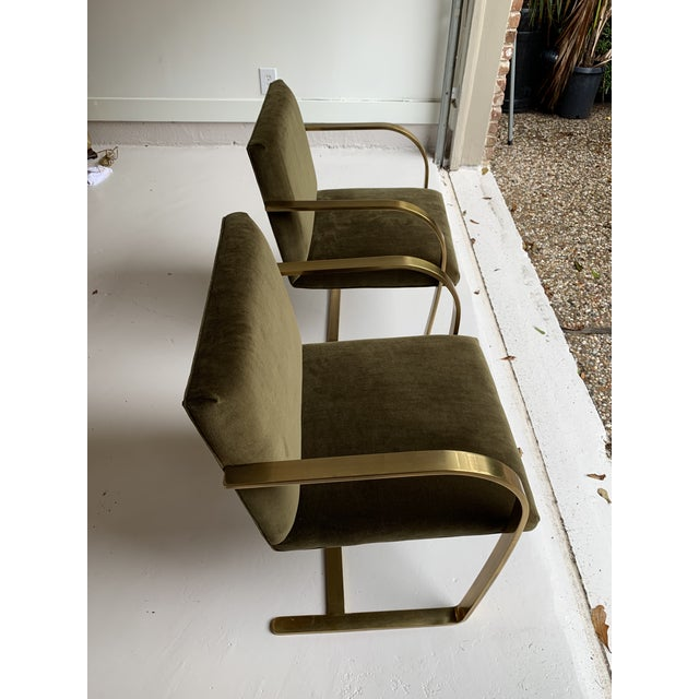 Mid-Century Modern 1970s Vintage Brass Brno Chairs- a Pair For Sale - Image 3 of 13