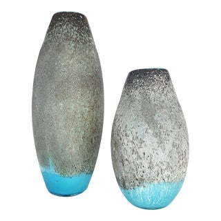 Vintage Hand-Blown Cased-Glass Volcanic Stone Finish Vases - a Pair For Sale