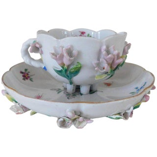 Early 18th Century Tradtional Augustus Rex Meissen Porcelain Cup & Saucer