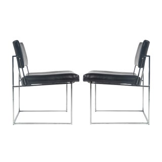 1970's Vintage Milo Baughman Side Chairs- A Pair For Sale