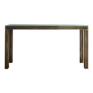 Industrial CB2 Perforated Metal & Glass Console Table For Sale