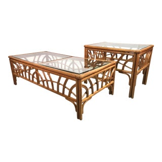 Contemporary Boho Chic Bamboo & Rattan Glass Top Coffee & Side Table For Sale