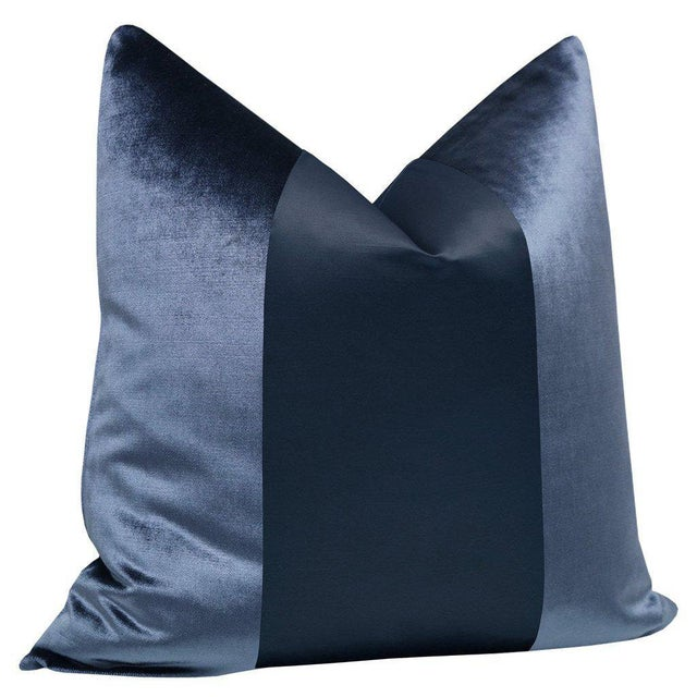 """Contemporary Prussian Blue Velvet & Silk Panel 22"""" Pillows - a Pair For Sale - Image 3 of 5"""