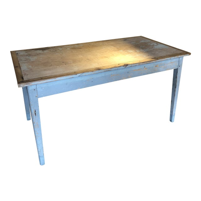 Antique Painted Wood Continental Table With Patina and Two Drawers For Sale