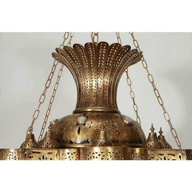 Large Moroccan Moorish Brass Chandelier For Sale In Los Angeles - Image 6 of 13