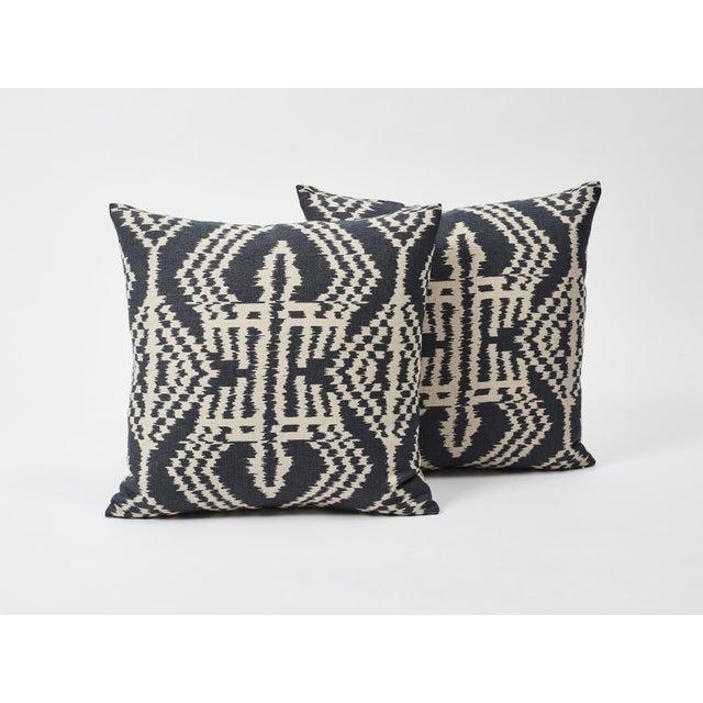 2010s Schumacher Asaka Ikat Linen Print Double-Sided Pillow For Sale - Image 5 of 9