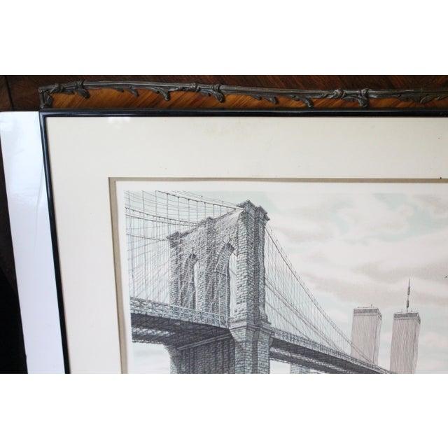"Americana ""Hail Brooklyn Bridge"" Print of the Twin Towers For Sale - Image 3 of 9"