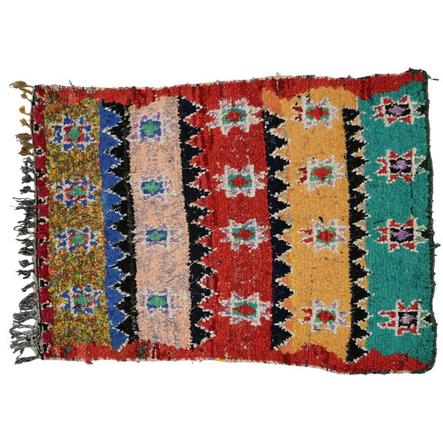 1980s Moroccan Boucherouite Rug With Tribal Style - 4'7 X 6'2 For Sale