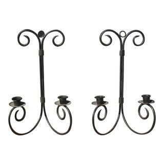 Late 20th Century Chandelier Wrought Iron Wall Sconce Candle Holders - a Pair For Sale