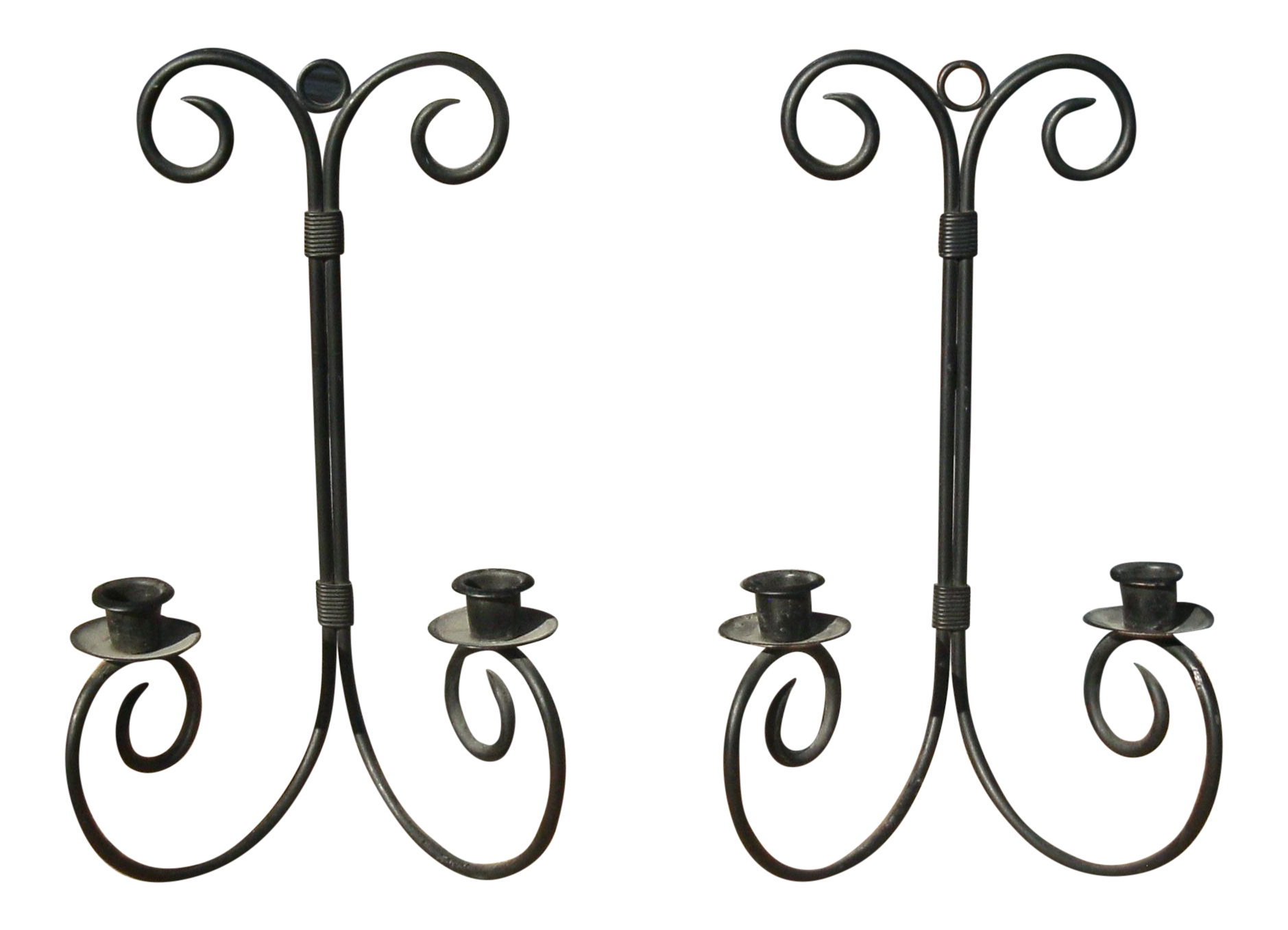 Late 20th Century Chandelier Wrought Iron Wall Sconce Candle Holders A Pair Chairish