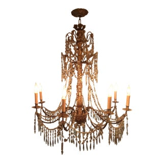 Genovese Giltwood Iron and Crystal Chandelier