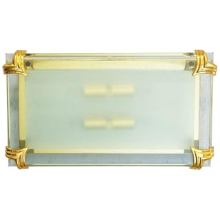 Italian Art Deco Mirrored Beveled Glass Sconce or Flush Mount For Sale