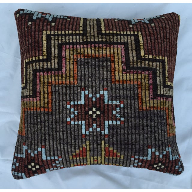 Rustic Southwestern Woven Kilim Pillow For Sale - Image 3 of 7
