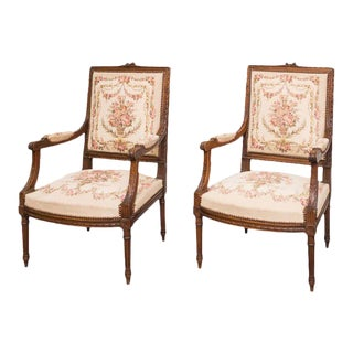19th Century French Louis XVI Tapestry Fauteuil Chairs - a Pair For Sale