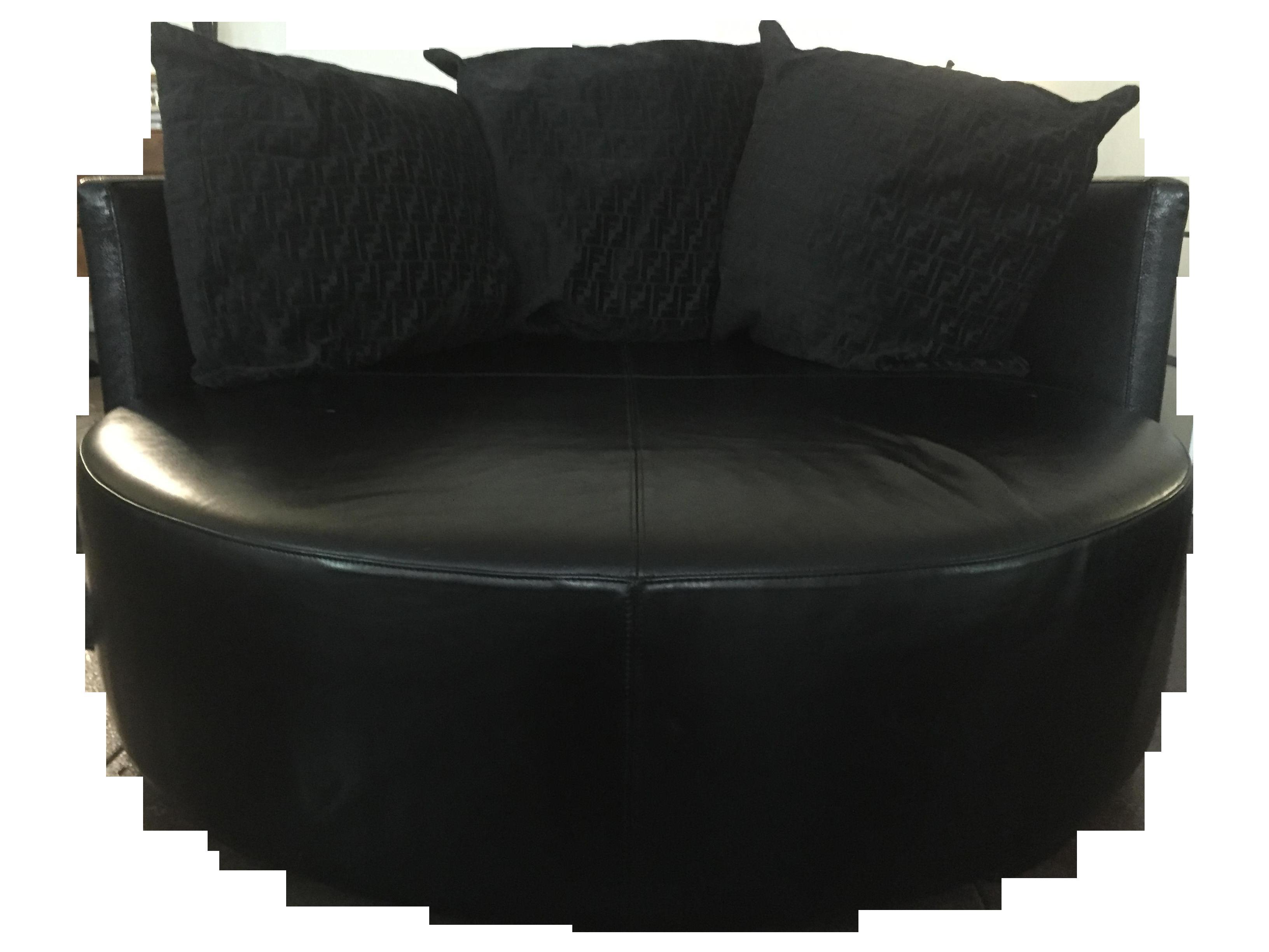 Fendi Casa Black Stingray Leather Circular Sofa