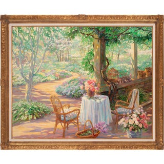 Circa 1988 Garden Scene Oil Painting by Corinne Hartley, Framed For Sale