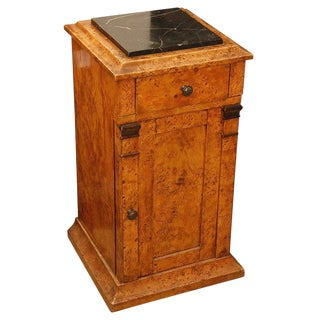 Mid-19th Century Burl Wood Stand With Black Marble Top From England For Sale