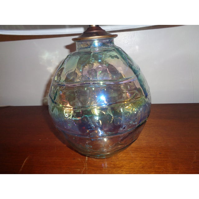 Art Glass Iridescent Table Lamp - Image 4 of 4